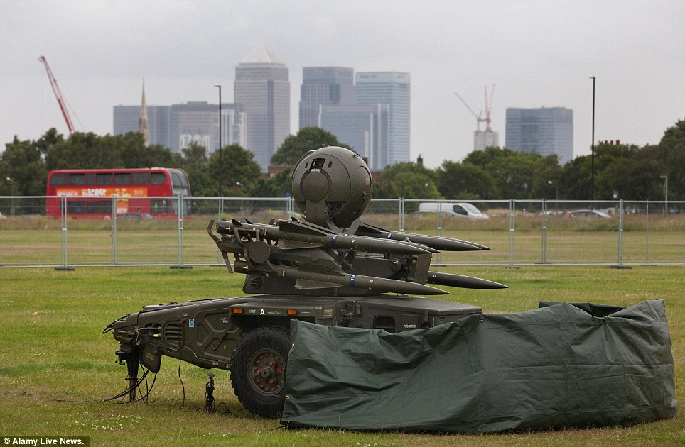 Armed and ready: For the first time since WWII, London's green space is transformed by anti-aircraft guns for Olympic ring of steel