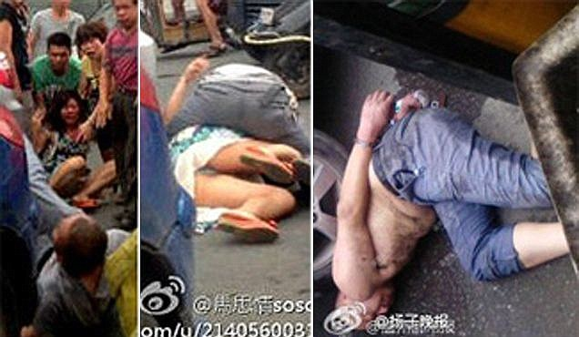 Chinese &#8216;cannibal&#8217; attack caught on camera as drunk bus driver leaps on woman and chews on her face