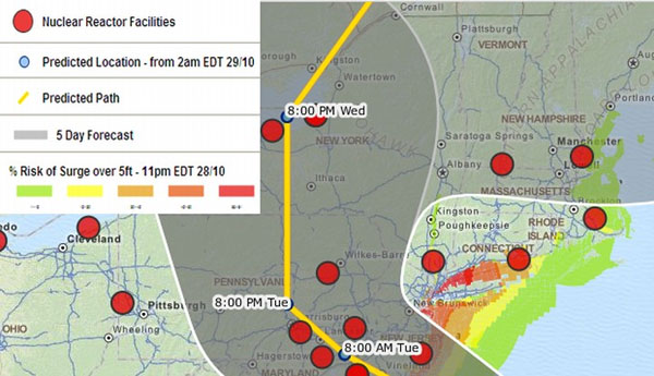 Hurricane Sandy May Score a Direct Hit On Spent Fuel Pools at Nuclear Plant