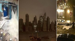 Manhattan goes dark + + 6 MILLION without power + + 14 dead as Superstorm Sandy throws a 13 foot wall of water at US coast