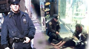 NYPD officer photographed giving boots to barefoot homeless man