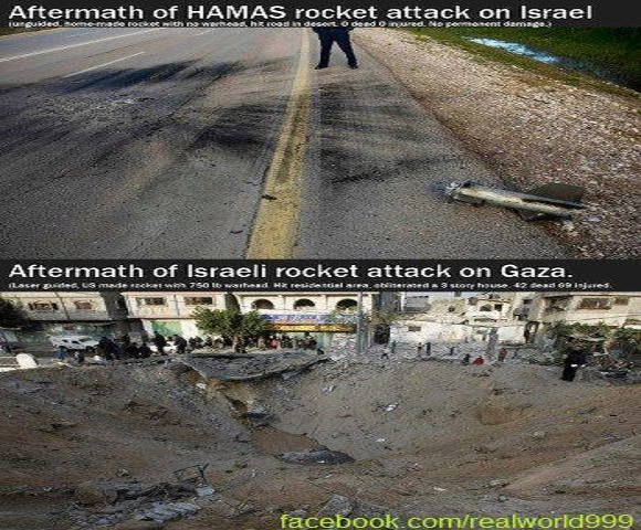 Pictures Tell the Story Aftermath of Hamas Rocket Attack Compared to Israeli Airstrike