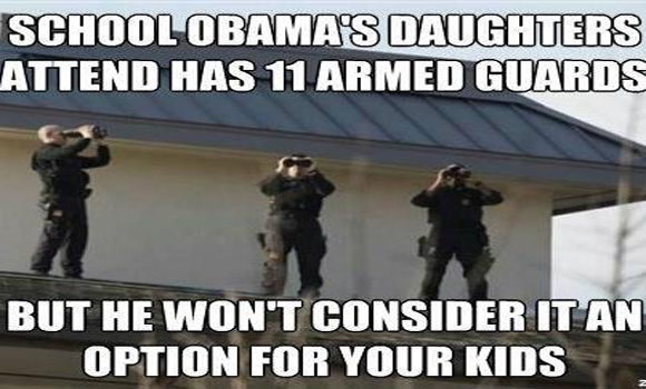 School Obama's Daughters Attend Has 11 Armed Guards