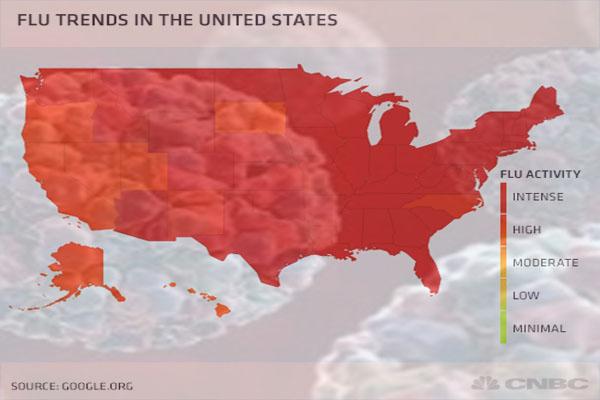Widespread U.S Flu, Leading a Range of Winter's Ills