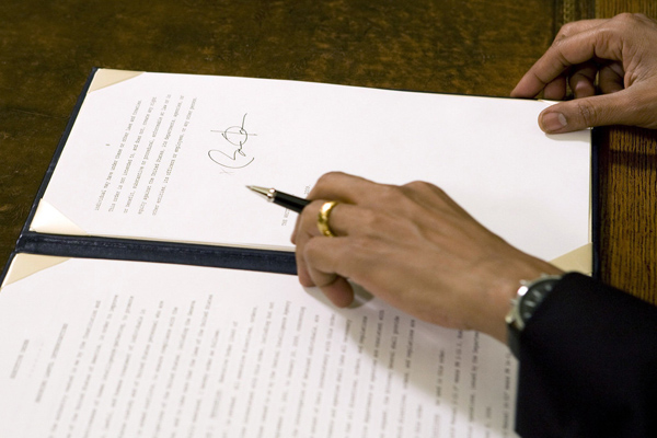 An executive order signed by U.S. President Obama in the Oval Office at the White House in Washington