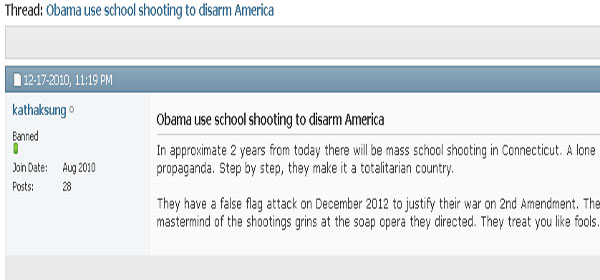 HOAX - Sandy Hook Predicted 2 Yrs Early On Public Internet Forum
