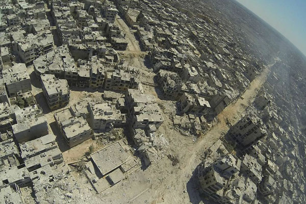 The wasteland Horrifying aerial pictures show full scale of destruction of Syrian city of Homs