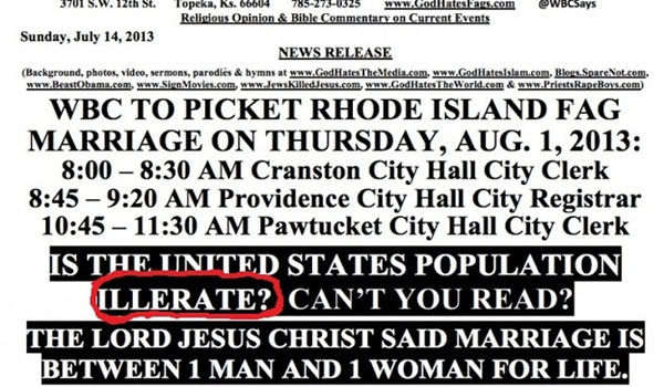 """Westboro Baptist Church Misspells """"Illiterate"""" On Flyer Accusing People Of Being Illiterate"""