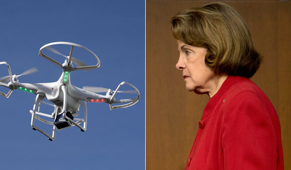 Dianne Feinstein spots drone inches from face