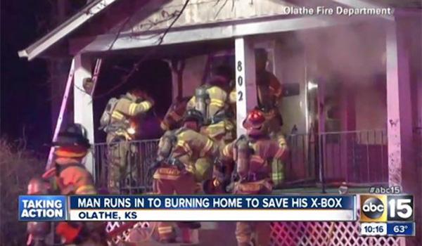 Kansas man runs back into burning house to rescue … his Xbox