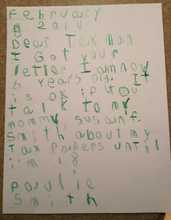 Six-year-old puts the IRS in its place with this letter written in crayon