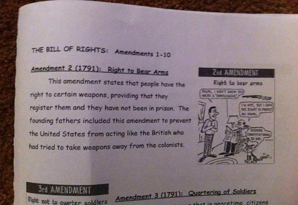 Middle School Assignment Second Amendment Requires Gun Registration