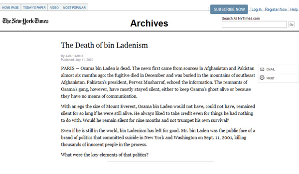 New York Times Reported Osama Bin Laden Death in 2002