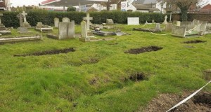 Zombie Sinkhole Apocalypse Coffin-shaped Depressions Swallow Graves in Gravesend Cemetery