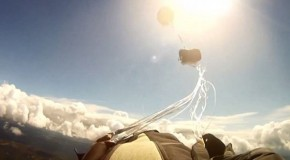 Close call: Amazing moment a skydiver is nearly hit by a falling METEORITE just after his parachute opens