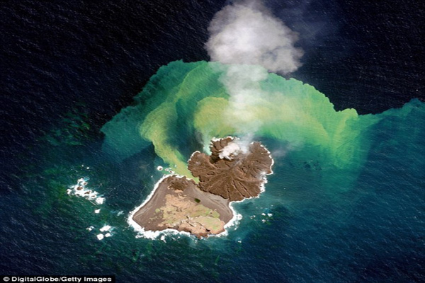 Japan's New Volcanic Island Continues To Grow