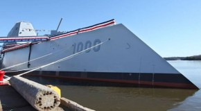 US Navy christens huge $3 billion destroyer ship USS Zumwalt that appears as a fishing boat on enemy radar