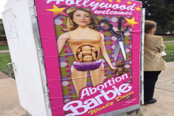 Wendy Davis Greeted by 'Abortion Barbie' Posters Ahead of Hollywood Fundraiser