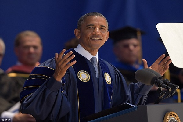 Denying climate change is like saying the moon is made of cheese, argues Obama as he takes on global warming deniers at commencement speech