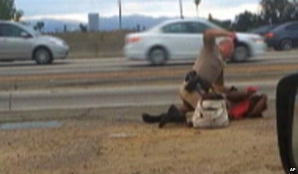 Caught On Camera CHP Officer Beats The Crap Out of a Woman Beside a Busy Road