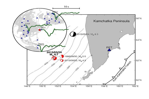 The locations of two super-deep earthquakes offshore of Kamchatka in 2013.