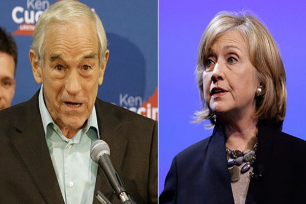 Ron Paul Hillary would be a pro-war, pro-Fed president