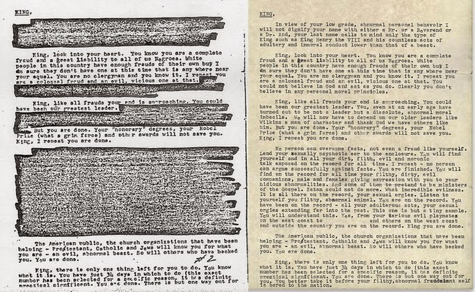 'There is but one way out for you' Uncensored 'suicide letter' sent from FBI to Martin Luther King made public for the first time