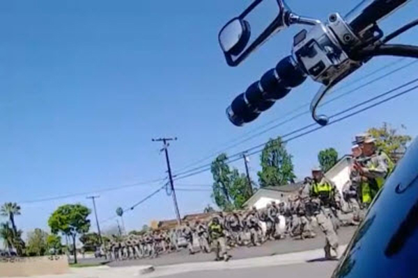 Video Armed National Guard Troops Patrol Residential Streets in California