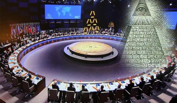 I leader mondiali Indossare Bizzarro Illuminati Piramide al vertice nucleare